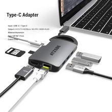 USB C Hub 8-in-1 USB C to HDMI RJ45 Thunderbolt 3 Adapter for MacBook Samsung Galaxy S10 Huawei Mate 20 P20 Pro Type C USB Hub 8 in 1 thunderbolt 3 hub usb type c to hdmi vga usb 3 1 multiport charging adapter for macbook pro google chromebook converter