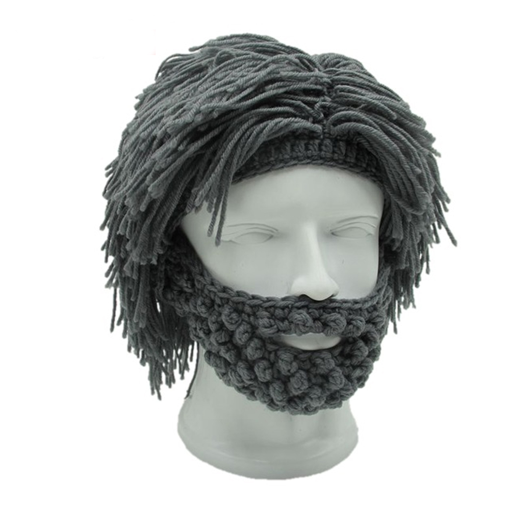 LMFC Wig Beard Hats Hobo Mad Scientist Caveman Handmade Knit Warm Winter Caps Men Women Christmas Gifts Funny Party Beanies