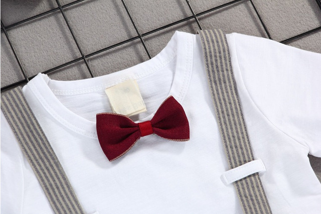 Summer Kids Boys Bow Clothing Sets