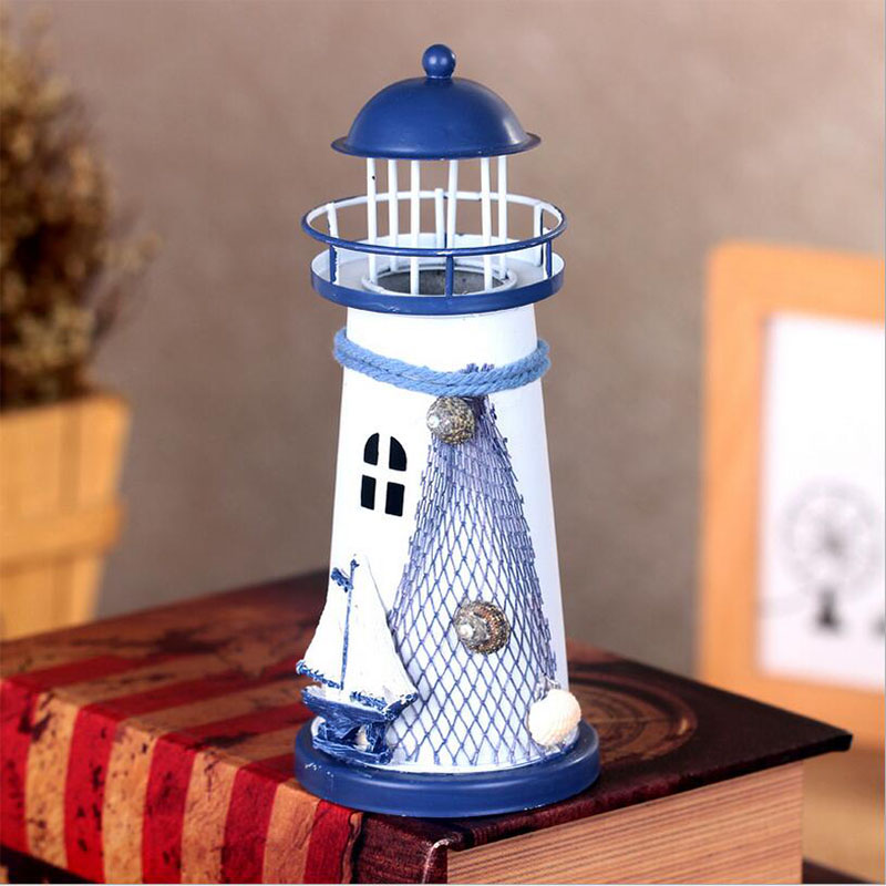 Handmade Mediterranean Style Iron Lighthouse Flash Ocean