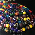 Wholesale Nepal handmade Acient Glass Mixed Colorful Beads Strand 5-15mm Tibet Colorful Glass Beaded Necklaces 50cm Free Shipp
