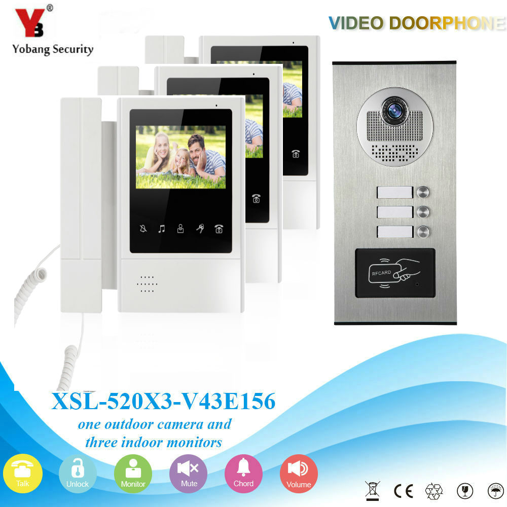 YobangSecurity 4.3 Inch Color Villa Video Door Phone Doorbell Entry Intercom System RFID Access Door Camera For 3 Unit Apartment yobangsecurity villa apartment eye door bell 7tft lcd color video door phone doorbell intercom system 1 camera 6 monitor