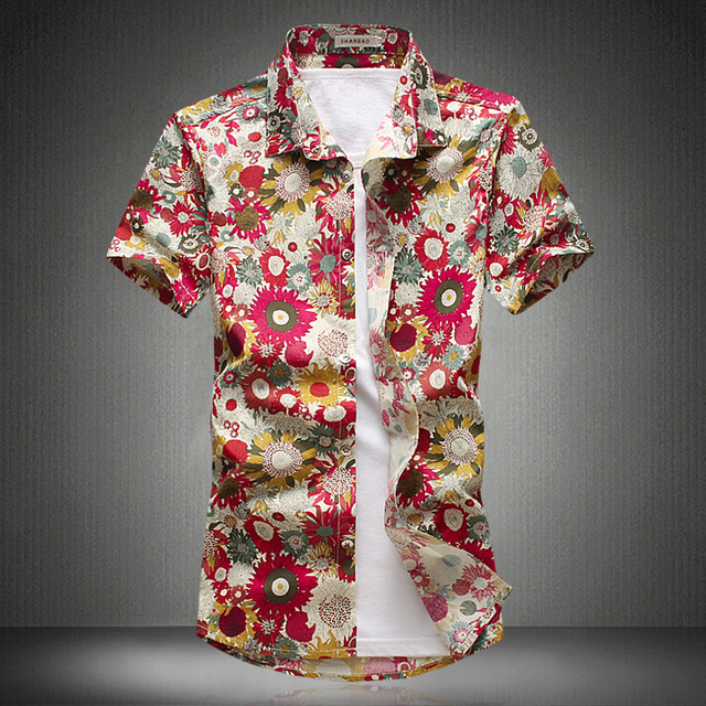 e49dbde9843462 Short Sleeved shirt Men 2018 New Fashion Floral printing shirts men flowers  printed shirts Casual Men Shirt High Quality
