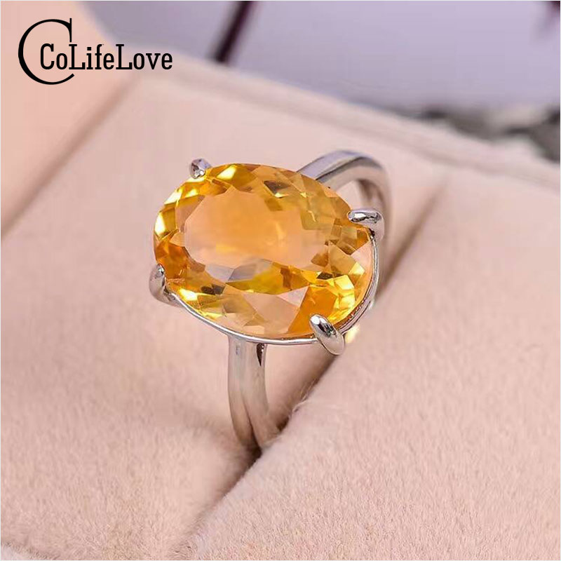 Luxurious Natural Citrine Gemstone Ring 10mm*14mm Natural Citrine Silver Ring Solid 925 Sterling Silver Yellow Crystal Ring