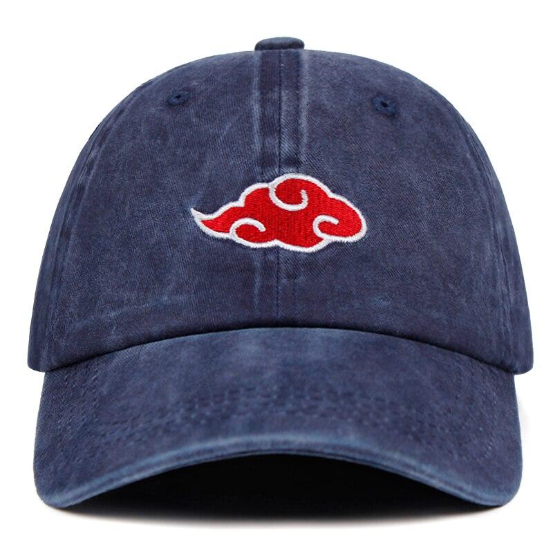 Latest washed denim Dad Hat Akatsuki Logo Anime Naruto Dad Hat Uchiha Family Logo Embroidery   Baseball     Caps   Black Snapback Hats