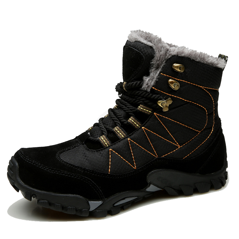2017 Winter Hiking Shoes Men Outdoor Boots High Top Outdoor Mens Boots With Fur Black Brown Trekking Sneakers Men Warm Shoes big size 46 men s winter sneakers plush ankle boots outdoor high top cotton boots hiking shoes men non slip work mountain shoes