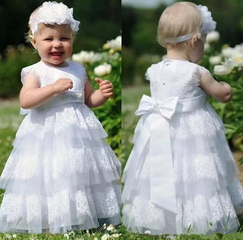 White Lace Baby Infant Girls Dresses for Wedding Little Girls Birthday Party Dress Custom Made Size 2-14Y myofunctional infant trainer phase ii hard oringal made in australia infant primary dentition trainer girls