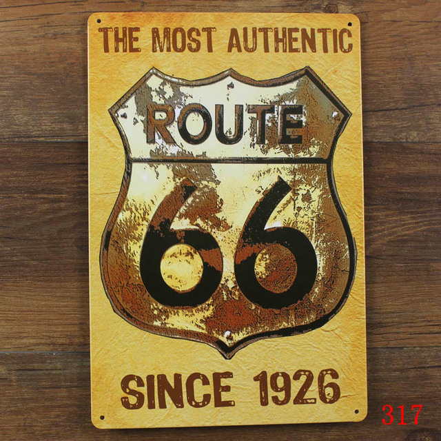 US $5 0 |The most authentic route 66 since 1926! metal tin signs vintage  plate wall decoration for home bar cafe garage and so on-in Plaques & Signs