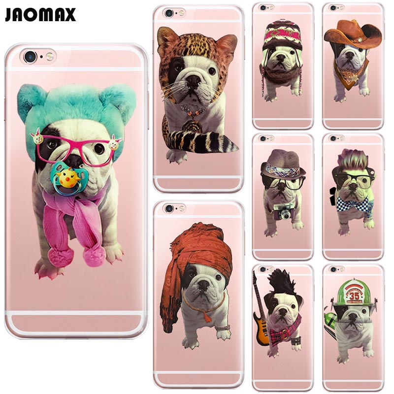 Jaomax Funny Cute French Bulldog Cool Dog Case For iphone X 6 6s Plus 5 5S SE 7 8 Plus Transparent Soft Silicone Phone Cover