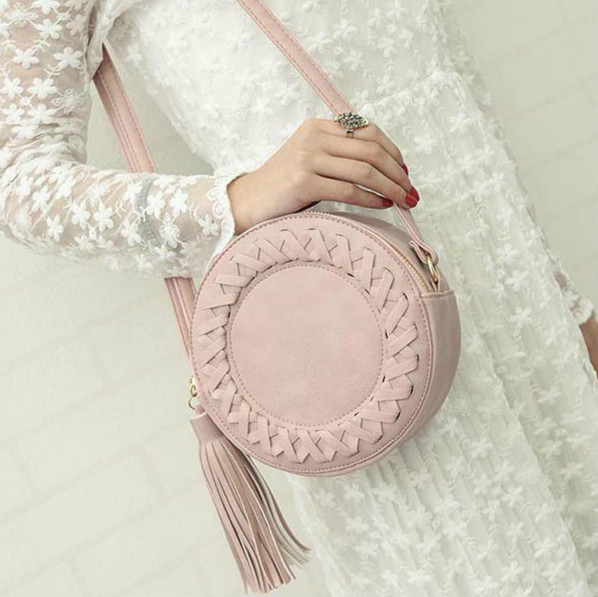 Ladies Round Tassel Bag Woven Crossbody Bags Womens Lovely Shoulder Cute Knitting Circular Messenger Candy color bags