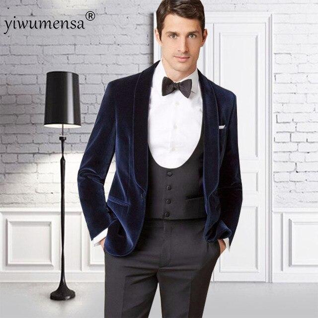 eee8bfa7d919 YWMS-357 dernier manteau pantalon conception velours noir Slim Fit hommes  costume marié smoking velours