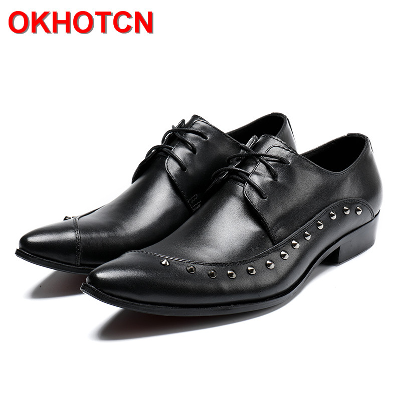где купить OKHOTCN Men's Business Office Work Shoes Black Formal Lace Up Rivet Pointed Toe Party Dress Shoes Male Genuine Leather Footwear дешево