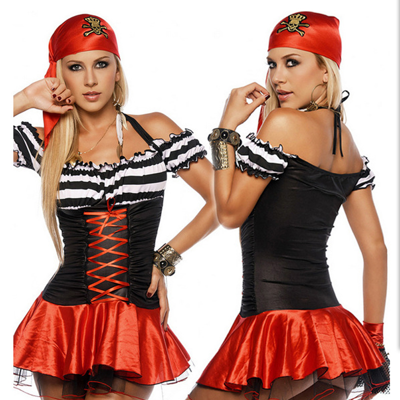 Hot Sale Classic Pirate Costumes Halloween Party Role Play Uniform Bar Costume Dance Costumes Pirate Cosplay For Women One Size