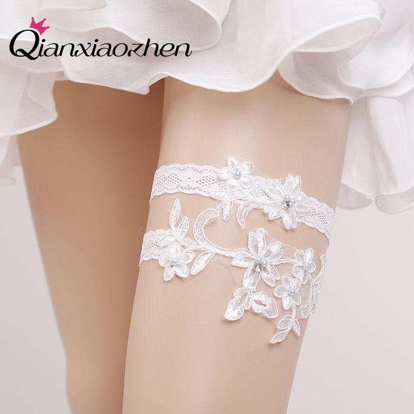Qianxiaozhen 2pcs/set Lace Leg Wedding Garter Bridal