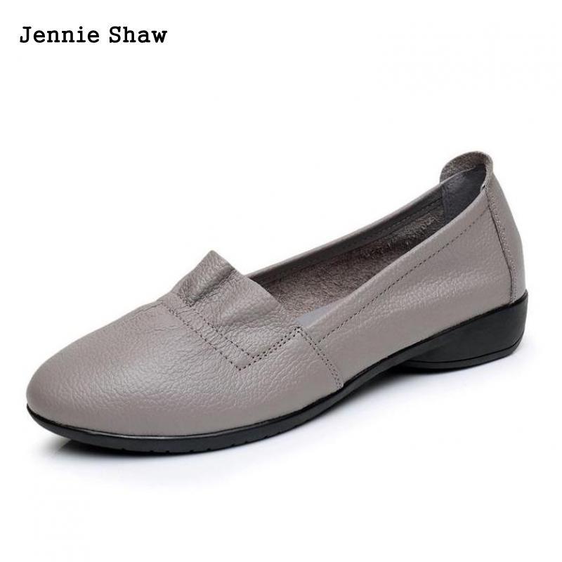 Chaussures plates en cuir véritable femmes chaussures décontracté Lady chaussures