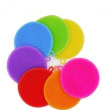 Креативная силиконовая губка для мытья посуды, многофункциональная круглая силиконовая щетка, фруктовый Антибактериальный кухонный коврик для очистки