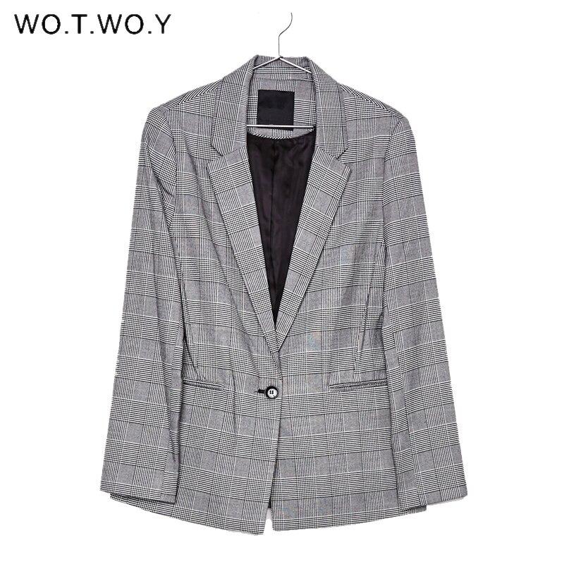 WOTWOY Office Lady Plaid Blazer Women 2018 Autumn Suit Blazers Mujer Formal Jackets Women Elegant Notched Work Blazer Feminino