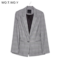 WOTWOY Office Lady Plaid Blazer Women 2018 Autumn Suit Blazers Mujer Formal Jackets Women Elegant Notched Work Blazer Feminino