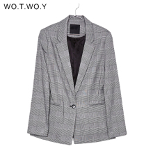 WOTWOY Office Lady Plaid Blazer Women 2020 Autumn Suit