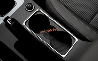 Car Styling LHD Steel Console Gear Shift Box Water Cup Holder Cover Trim for Skoda Octavia MK3 A7 2015 2016