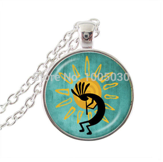 Kokopelli Sun Dance resin pendant, Kokopelli jewelry, American Southwest jewelry, fertility diety short necklace for women