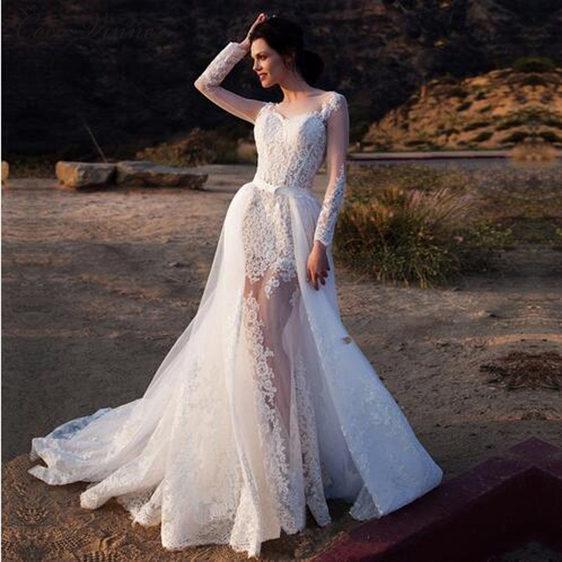 2 In 1 Long Sleeve Illusion Sexy Mermaid Wedding Dresses With Detachable Train Fashion Europe Style Wedding Dress 2019 W0083