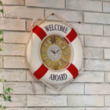 20CM/30CM/35CM Mediterranean Style Painting Cloth Lifebuoy Clock 1PC Needle Wall Clocks Home Decor Pendant