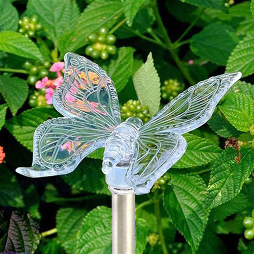 Color-Changing LED Solar Landscape Path Light Outdoor Dragonfly/Butterfly/Bird Lawn Lamps Waterproof Garden Camping Lamp RGB