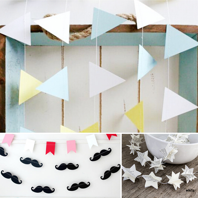Star Paper Flags Bunting Mustache Baby Shower Happy Birthday