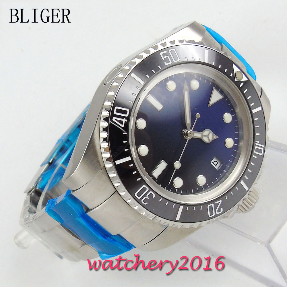 44mm Bliger blue & black dial black ceramic bezel luminous marks date Stainless steel Case glass Automatic movement Men's Watch bliger 40mm gray dial date blue ceramics bezel stainless steel case saphire glass automatic movement men s watch