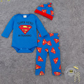 Baby Clothes Costumes Batman&superman Print Infant Jumpsuit +Hat+Pants Toddler Romper Newborn Baby Clothes Jumpsuit