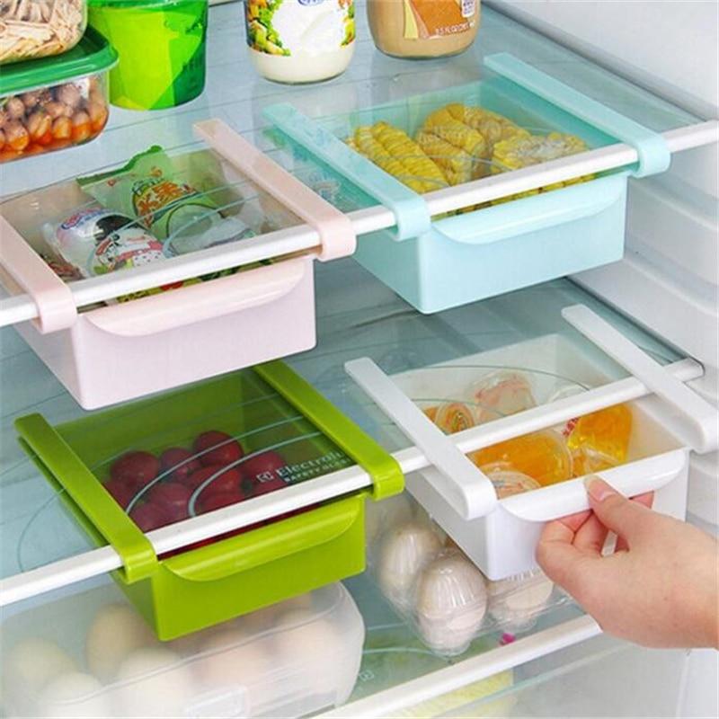 1pc Multifunction Refrigerator Storage Boxes Plastic Slide Shelf Kitchen  Fridge Space Saver Organizer Shelf Rack Holder