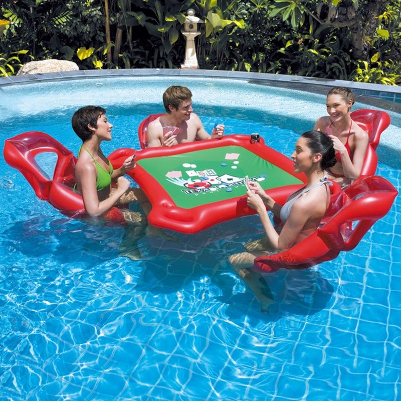 цена на inflatable mahjong water park Inflatable float bed floating mat Swimming props Mahjong table game water toy