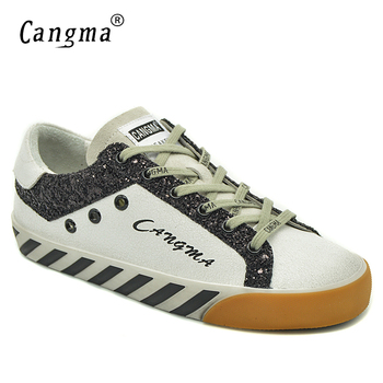 CANGMA Woman Shoes Spring Branded Flat Shoes Casual Shoes White Genuine Leather Sneakers Black Glitter Trainers Female Footwear