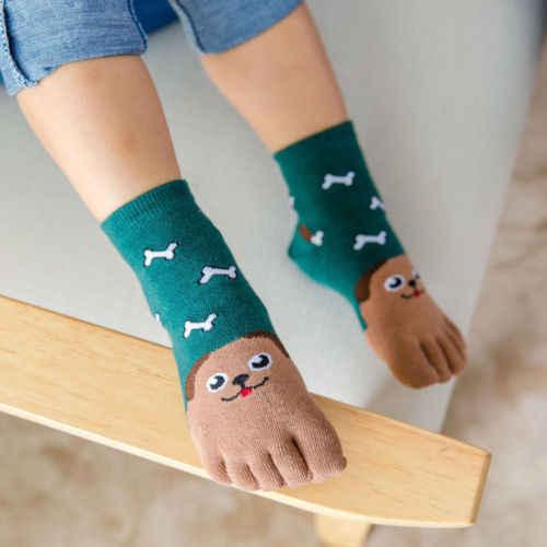 Emmababy 귀여운 아기 키즈 여자 소년 귀여운 소프트 다섯 손가락 만화 동물 양말 양말 발가락 양말 발목 양말