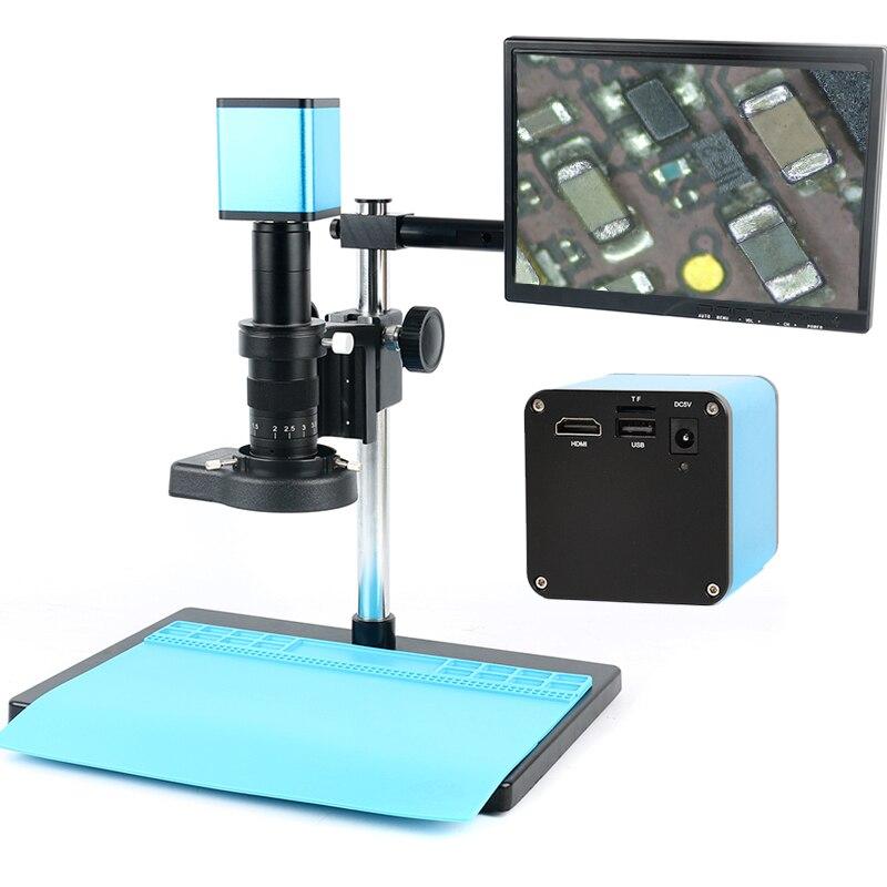 Enfoque automático SONY IMX290 HDMI TF Video de enfoque automático de la industria microscopio Cámara + 180X C-Mount de la lente + soporte + 144 anillo de luz LED + LCD de 10,1