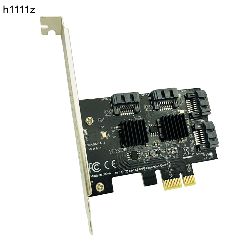 PCI-E PCI Express to SATA 3.0 Extension Card with Heat Sink 4Port SATA III 6Gbps Expansion Adapter Board for PC Computer Chassis 4 ports sata 6g pci express controller card pci e to sata iii 3 0 converter with heat sink expansion adapter board for pc ipfs