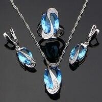 מיסטיק מעוקב Zirconia 925 כסף סגלגל כחול נשים חתונה עגילים/תליון/שרשרת/טבעת זרוק חינם