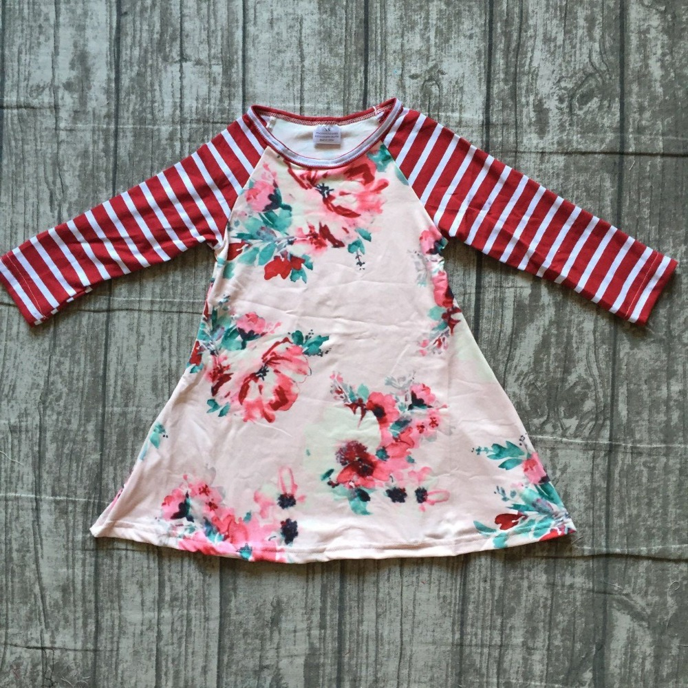 2018 autume Fall/winter hot sale baby girls boutique wine burgundy floral light stripe dress children clothes milk silk cotton цены онлайн