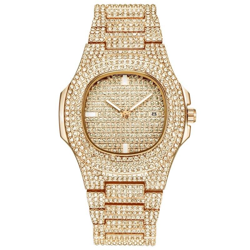Cristal Muitos Diamante Calendário de Quartzo Relógio