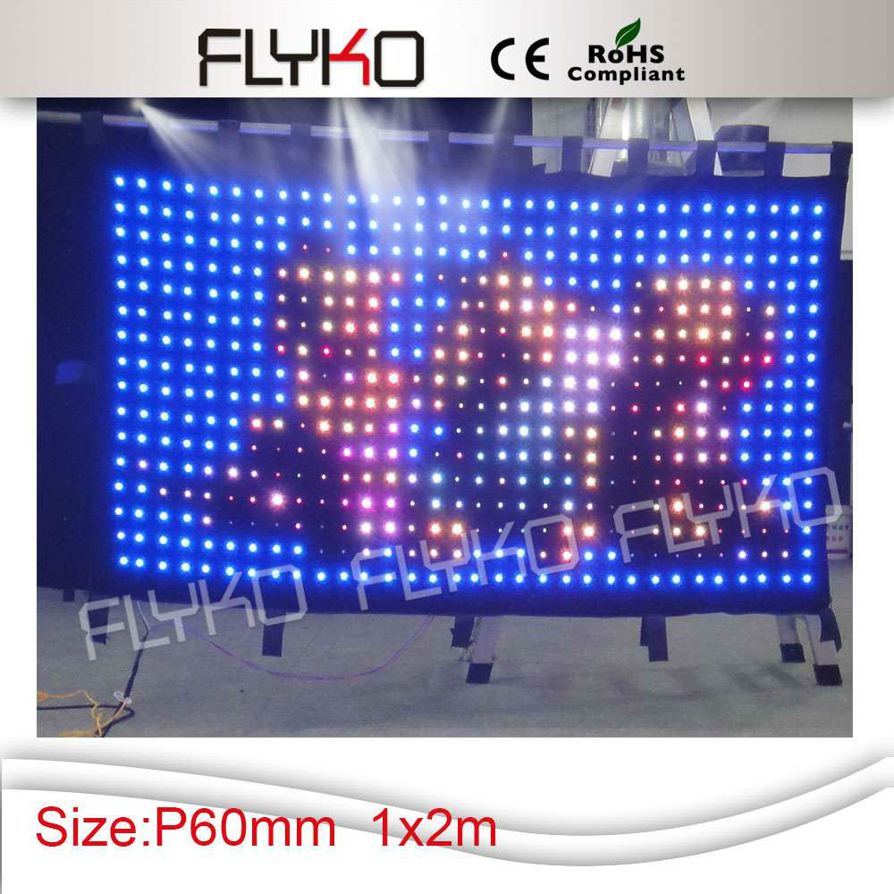 p6cm 2x1m Led Wedding Stage Backdrop Led Vedio Cloth RGB 3 in 1 Color