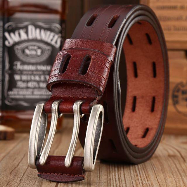 brand new fashion leather belt men high quality designer belts women double needle buckle waist strap dress sash jeans size 125