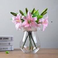 HI-Q 5 יחידות 3 ראשים אמיתי מגע משי שושן מלאכותי PVC דקורטיבי פרח לקישוט חתונה מתנה