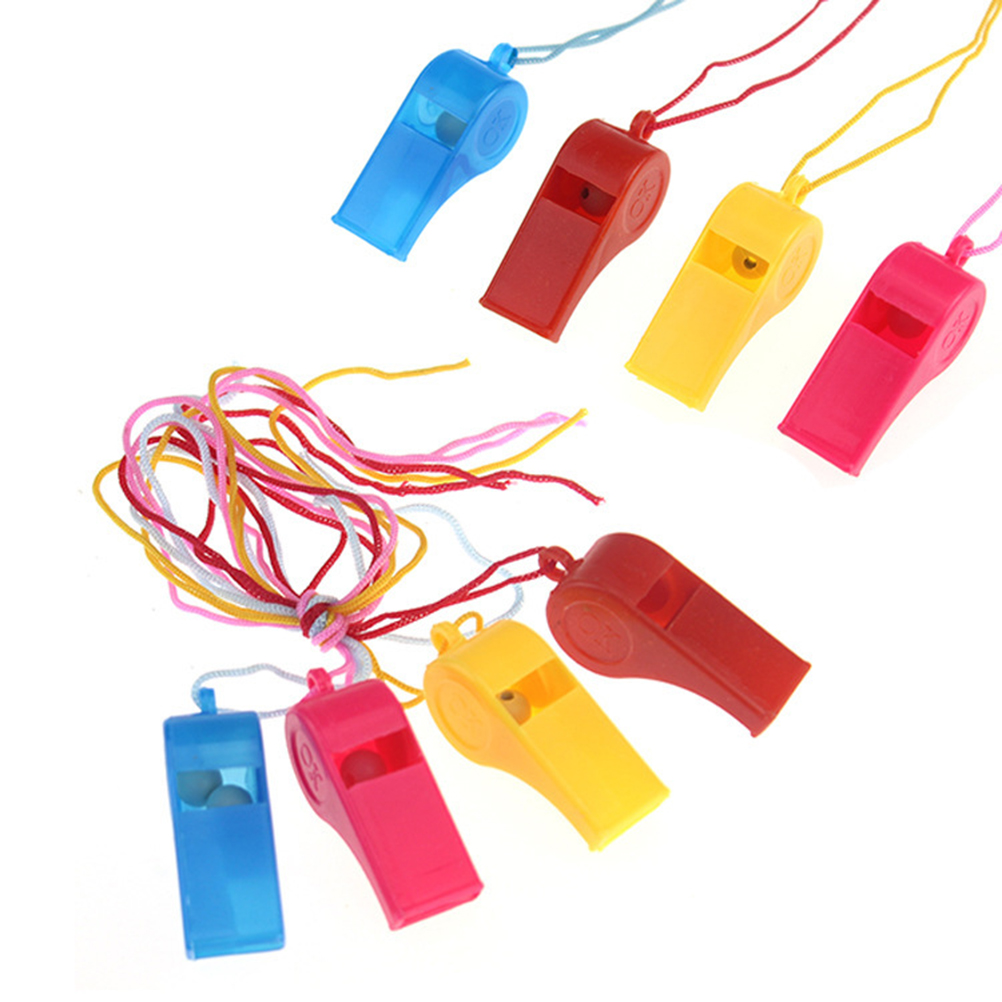 8pcs Plastic Training Whistle Sports Referee Whistle with Lanyard (Random Color)