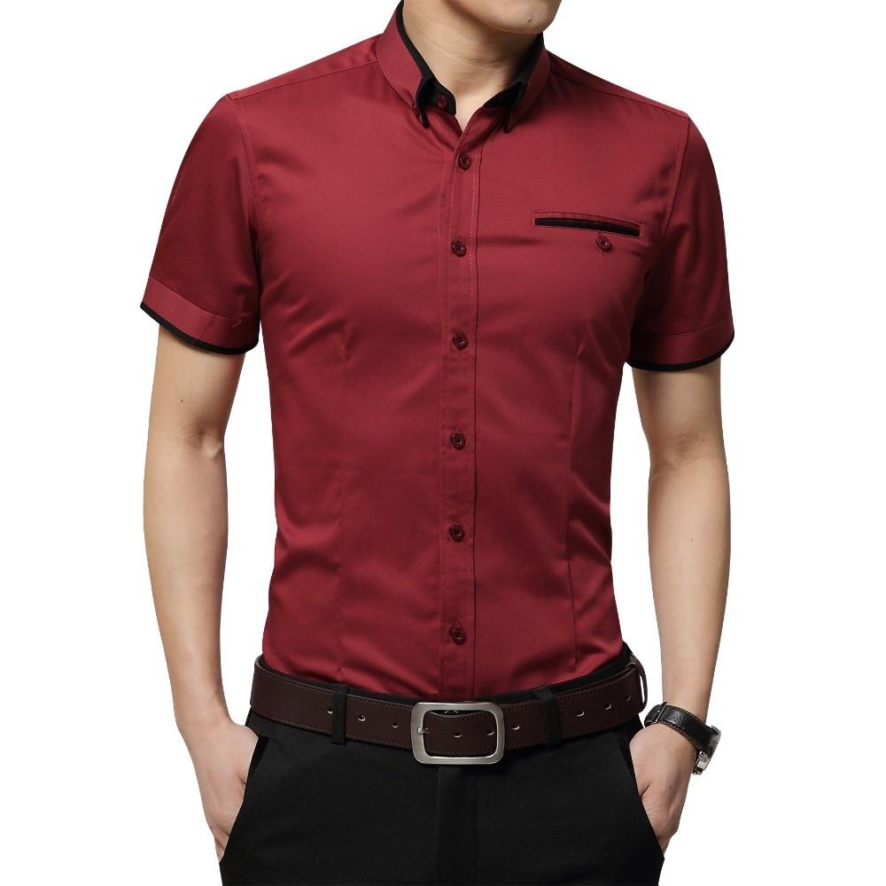 2770b9f677b8 2018 New Arrival Brand Men s Summer Business Shirt Short Sleeves Turn-down  Collar Tuxedo Shirt