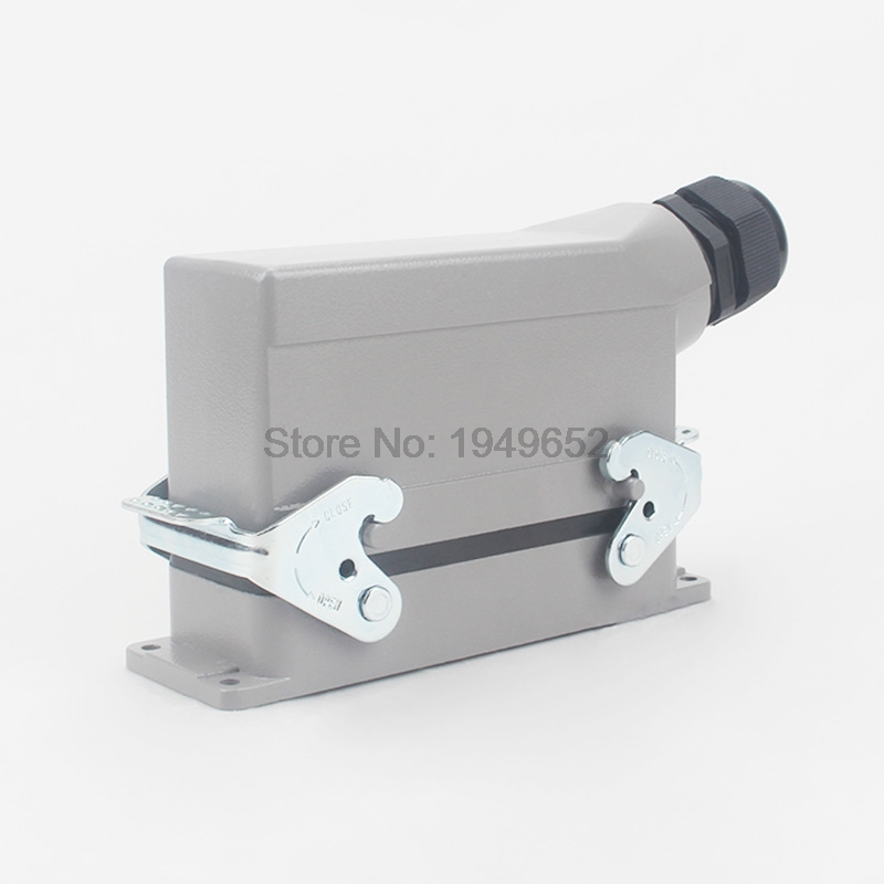 Heavy Duty Connectors HDC-HE-024-1 F/M 24pin Industrial rectangular Aviation connector plug  16A 500V 48pin 16a 400v 500v heavy duty connector 48 core aviation plug mk he 048 1