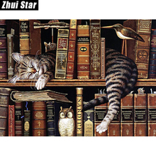 "Zhui Star Full Square Drill 5D DIY Diamond Painting ""bookcase Cat"" handmade 3D Embroidery arts Cross Stitch Mosaic Decor gift"