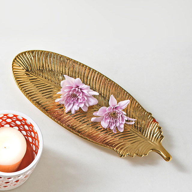 Golden Ceramic Feather Shaped Storage Tray, Home Decoration Desktop Accessories and Jewelry Storage Dish, Gift for Girl Lady
