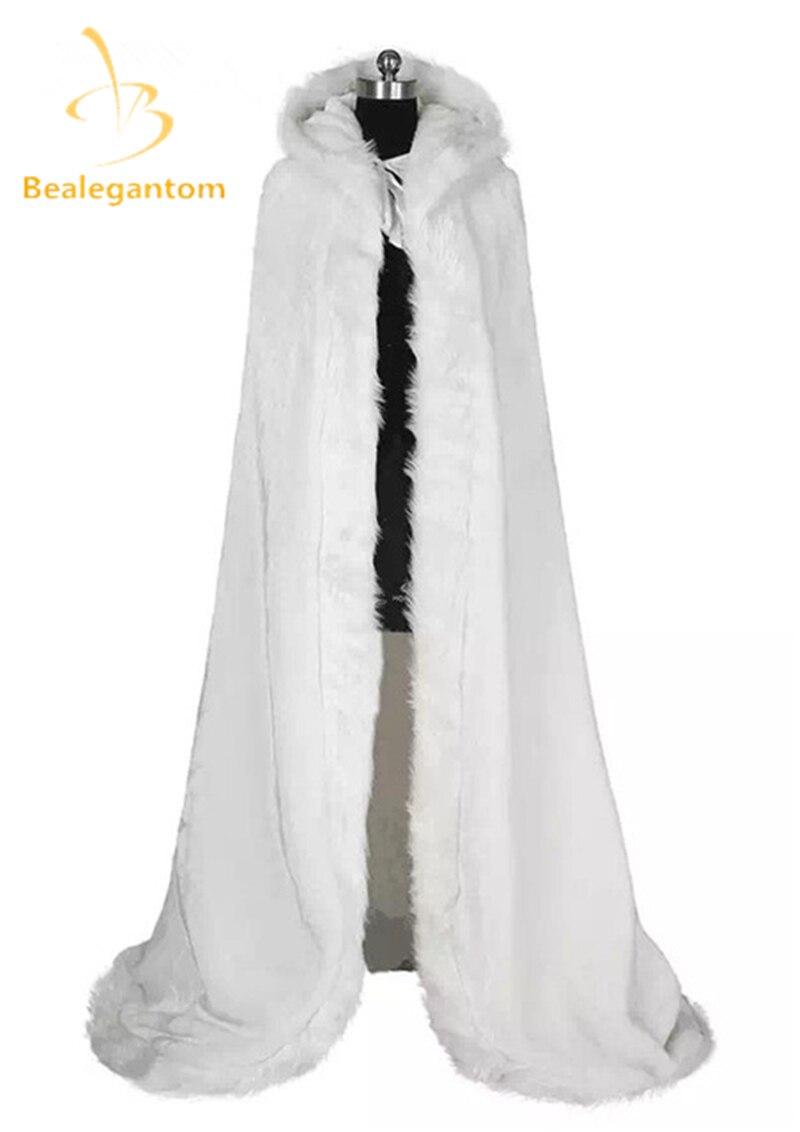 Bealegant Роскошные Элегантные Дешевые 2019 Теплый Свадебный Мыс Белая Зимняя Меховая Куртка Женщин Свадебные Длина Пола Плащи Свадебное Пальто QA932
