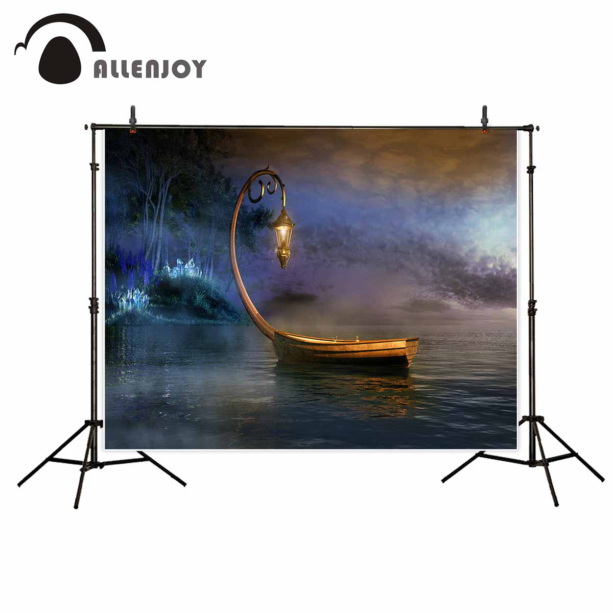 Allenjoy Fairy tale boat lantern river cartoon photocall decorations photographic background fund decorations vinyl photography background fairy tale